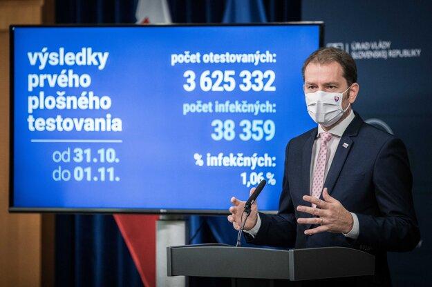 2. november 2020. Predseda vlády Igor Matovič počas tlačovej konferencie po rokovaní 49. schôdze vlády o výsledkoch prvého kola plošného testovania ľudí na COVID-19.