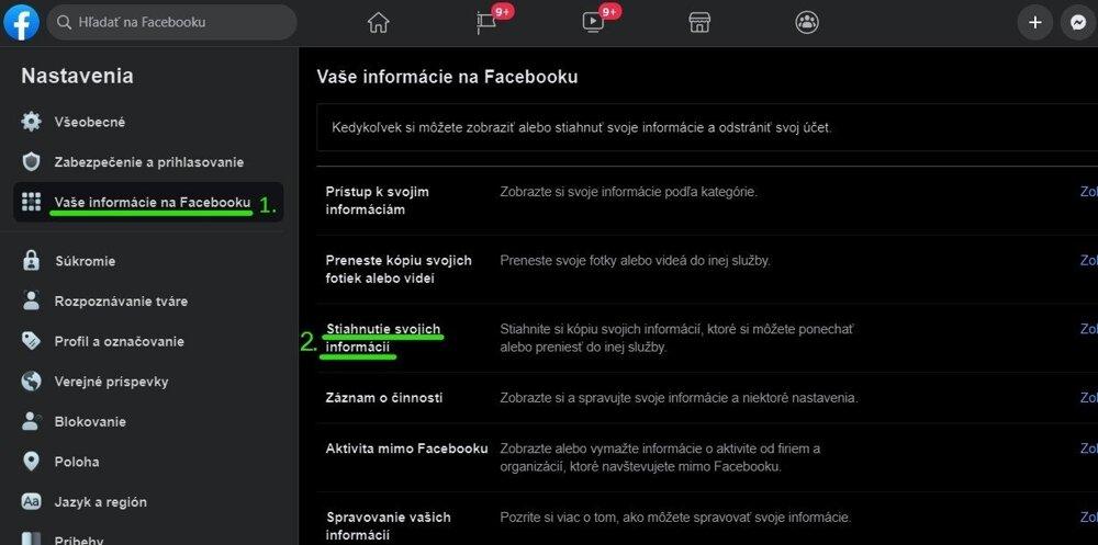 Tu nájdete všetky údaje z Facebooku, ktoré si môžete stiahnuť.