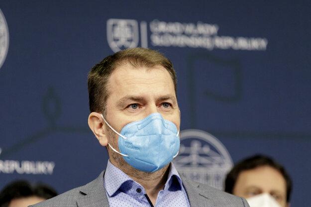 Premiér Igor Matovič počas tlačového vyhlásenia hnutia OĽANO k aktuálnej politickej situácii.