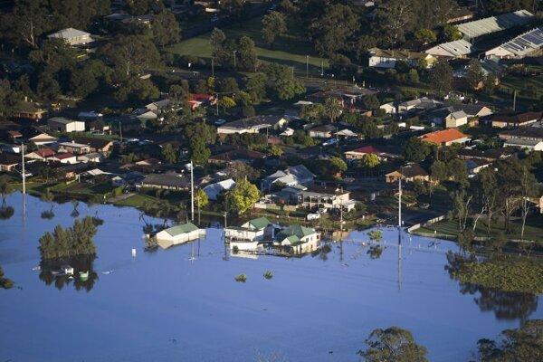 Zaplavená oblasť Windsor na severozápade Sydney.