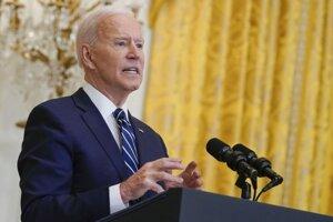 Americký prezident Joe Biden na štvrtkovej tlačovej konferencii v Bielom dome.