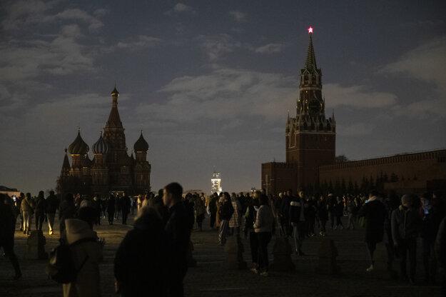 Hodina Zeme na Červenom námestí v Moskve,