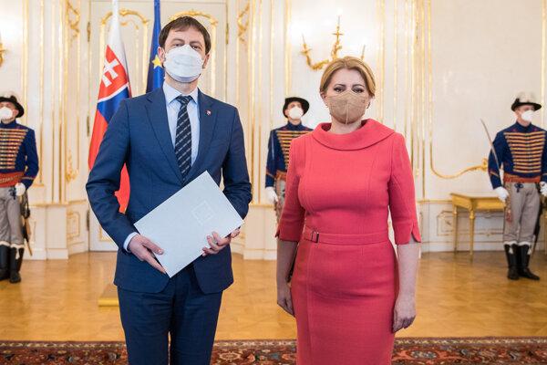 Eduard Heger a prezidentka Čaputová.