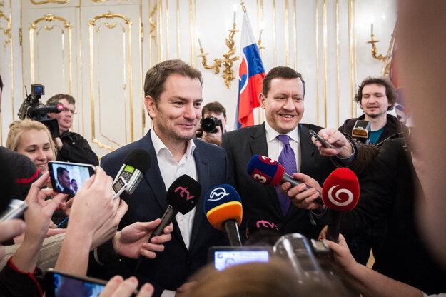 07. marec 2016, Bratislava. Predseda strany OĽaNO Igor Matovič a Daniel Lipšic v prezidentskom paláci, kde sa stretol s prezidentom Andrejom Kiskom.