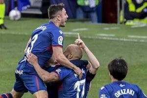 Radosť hráčov tímu Huesca.