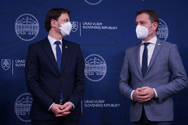 Predseda vlády SR Eduard Heger a minister financií SR Igor Matovič.