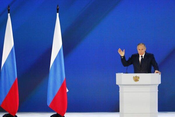 Ruský prezident Vladimir Putin počas prejavu o zahranično-politických otázkach.