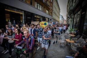 Pochod v Bratislave v rámci Globálneho klimatického štrajku 2019.