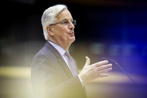 Hlavný vyjednávač EÚ pre brexit Michel Barnier v Európskom parlamente.