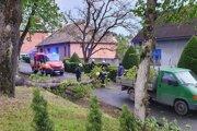Odstraňovanie spadnutého stromu v Haliči.