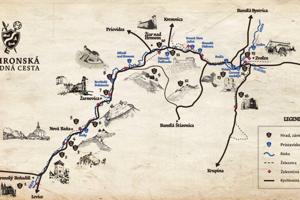 Mapa Pohronskej hradnej cesty.