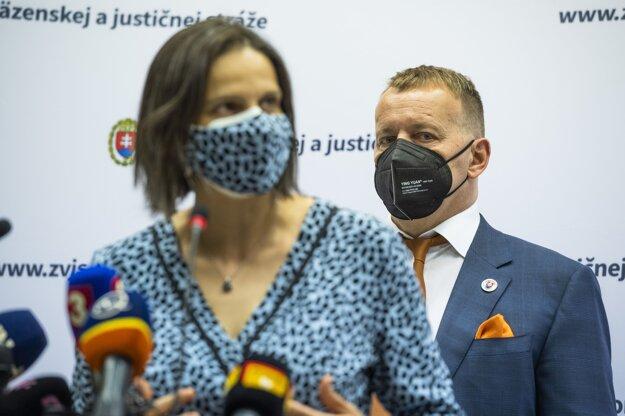Ministerka spravodlivosti Mária Kolíková a predseda NR SR Boris Kollár.