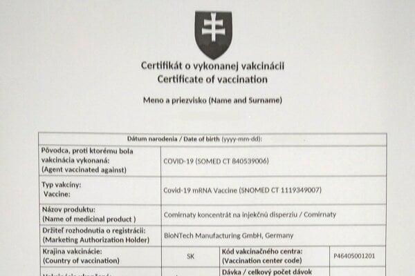 Slovenský certifikát o absolvovaní očkovania proti COVID-19.