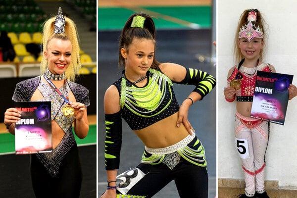 Zľava Vanda Nagyová (TŠ Unlimited Levice), Sarah Gregorová (Akadémia tanca Nitra) a Barbora Kajabová (Klik-Klak Vráble).