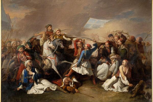 Dobový výjav z grécko-tureckých bojov.
