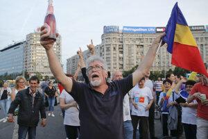 Pouličná oslava odsúdenia šéfa rumunských sociálnych demokratov Liviu Dragnea z roku 2019.
