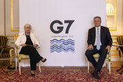 Americká ministerka financií Janet Yellenová a šéf OECD Mathias Cormann. Krajiny G7 sa dohodli na presadení úpravy, ktorej výsledkom by malo byť zavedenie globálnej dane pre firmy.