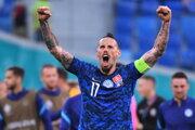 Marek Hamšík sa teší po výhre v zápase Slovensko - Poľsko na EURO 2020.