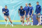 Marek Hamšík (vľavo) počas tréningu slovenskej reprezentácie na EURO 2020.