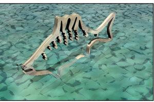 Na hladine jazierka má byť plastika ryby.