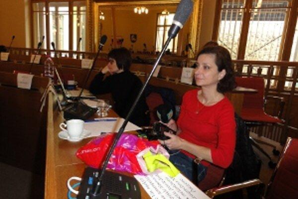 Médiá a verejnosť už majú v rokovacej sále vyhradený priestor. Vpravo novinárka Eva Sládková.