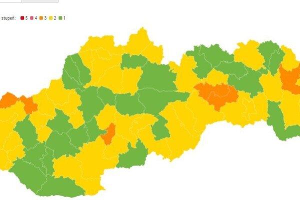Aktuálne rozdelenie okresov od pondelka 28. júna.