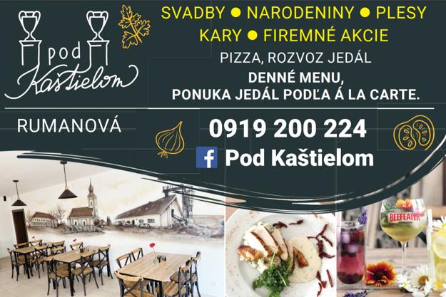 Reštaurácia Pod kaštieľom v Rumanovej ponúka široké spektrum možností.