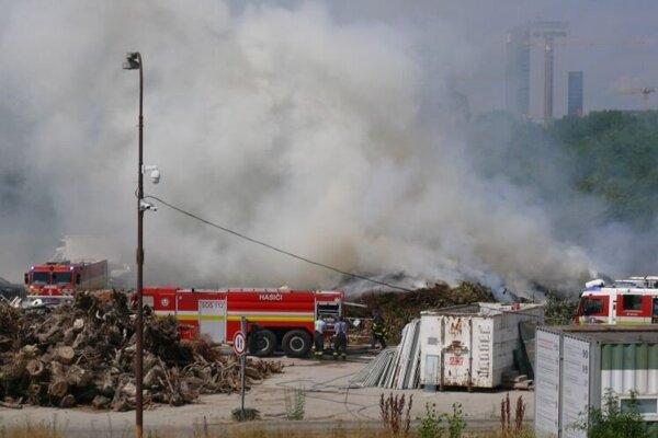 Na Kočánkovej ulici neďaleko Starého mosta v Petržalke v bývalom areáli Dopravného podniku mesta Bratislavy vznikol požiar na veľkej kope drevotriesky.