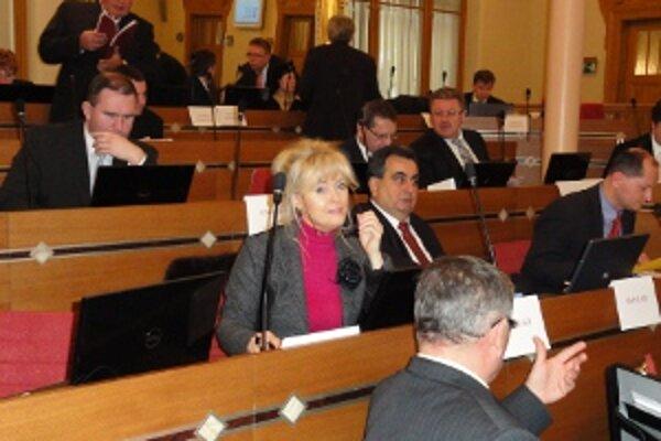 Krajskí poslanci. O rozpočte už rozhodovali v zrekonštruovanej zrkadlovej sále historického Župného domu v Nitre.