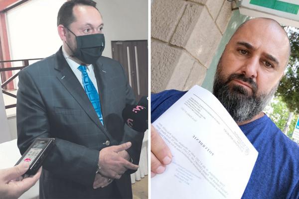 Poslanec NRSR Patrick Linhart (vpravo) podal trestné oznámenie na primátora Nových Zámkov Otokara Kleina (vľavo)