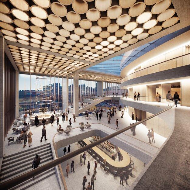 V budove Nového Istropolisu sa bude nachádzať aj priestranné a funkčné foyer, v ktorom sa budú spájať povôdné prvky s novými.