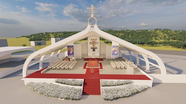 Prešovčan navrhol liturgický priestor pred športovou halou. Počas návštevy pápeža mu bude dominovať trojramenný kríž. Po kliknutí na fotku sa dostanete k fotogalérii.