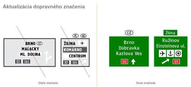 Príklad tabúľ s novým dopravným značením.