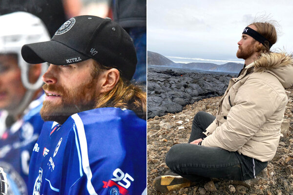 Hokejista Matt O'Connor rád trávi čas v prírode. Na snímke je pri jednej z európskych sopiek.