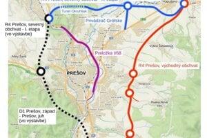 Obchvaty Prešova. Národná diaľničná spoločnosť chce stavať druhú etapu R4 bez privádzača Grófske.