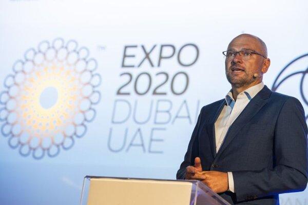 Minister hospodárstva SR a prvý podpredseda vlády pre ekonomiku SR Richard Sulík počas tlačovej konferencie na tému: Slovensko na svetovej výstave Expo Dubaj 2020.