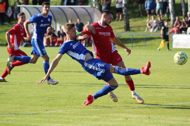 Momentka z pohárového zápasu Radimov - Senica