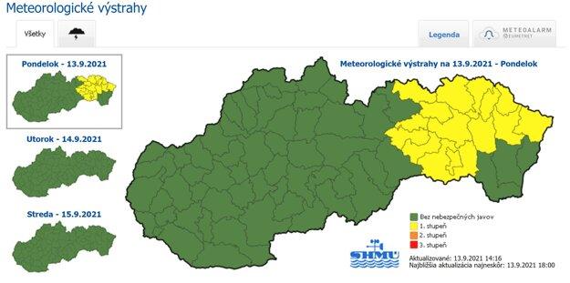 Meteorologické výstrahy na 13. 9. 2021.
