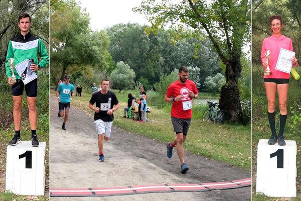 Na snímke v strede v červenom tričku starosta Oliver Berecz, ktorý dobehol posledný. Po bokoch víťazi Gergö Szarka a Zdenka Hezká.