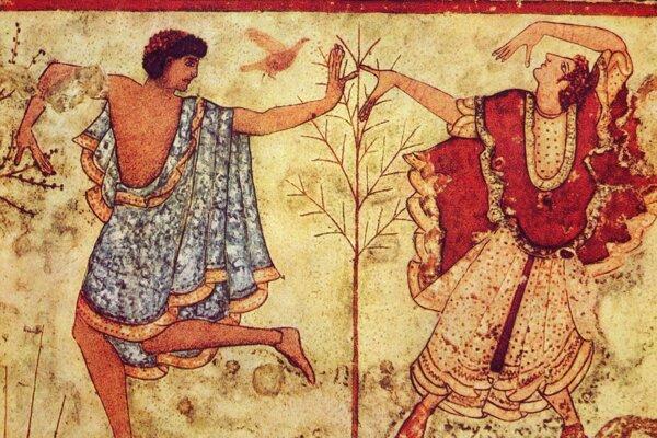 Etruskí tanečníci na nástennej maľbe v hrobke Triclinium.