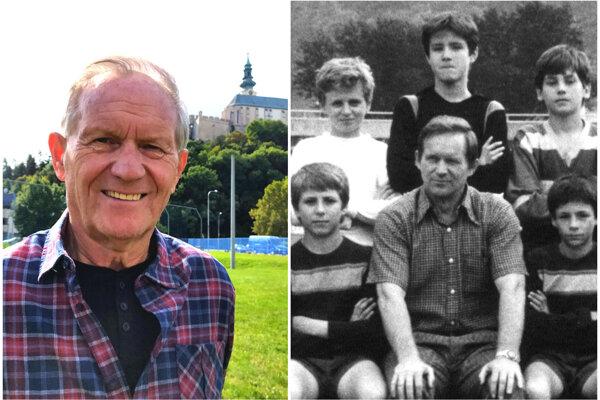 Vľavo Vladimír Pucher dnes, vpravo v 80-tych rokoch s prípravkou FC Nitra okolo neskôr slávnych Igora Dema a Samuela Slováka (po Pucherovej pravici a ľavici).