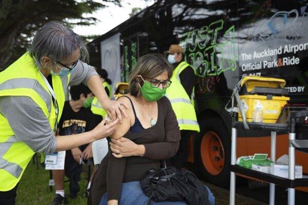 Mobilný očkovací tím v Aucklande.