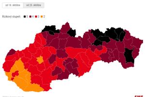 Mapa nového covid automatu tmavne najmä na východnom Slovensku.