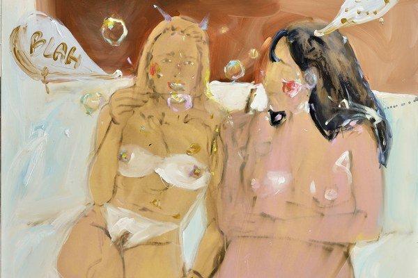 Blah Blah, 100 x 120 cm, 2013. Výstava Kataríny Janečkovej (1988) v bratislavskej Soge potrvá do 26. februára.