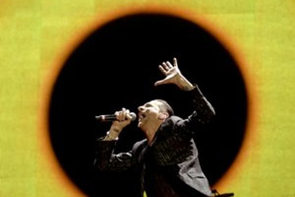 Spevák Dave Gahan počas koncertu v Belehrade.