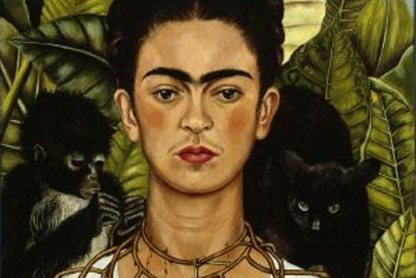 Autoportrét s tŕňovým náhrdelníkom, ktorý Frida namaľovala v čase rozvodu s Diegom.