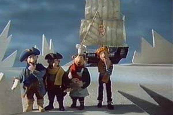 Z filmu Kapitán Kukuk od Štefana Martauza, príbeh z animovaného televízneho bábkového seriálu Hrdinovia siedmich morí, ktorý sa tiež predstaví v Moskve.
