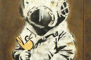 Vydražené Banksyho dielo Space Girl and Bird, výrez.