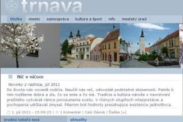 Webovú stránku mesta čakajú od októbra zmeny.