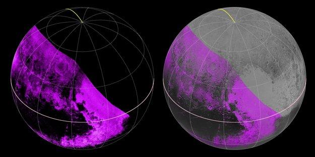 Fialová farba znázorňuje koncentráciu metánu. Pláň Sputnik ho ukrýva mnoho, kým región známy ako Cthulhu nemá žiaden. Vedci príčinu nepoznajú.